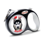 "iLEESH ""I LOVE MY Husky"" Retractable Leash Black"