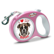 "iLEESH ""I LOVE MY Boxer "" Retractable Leash Pink"