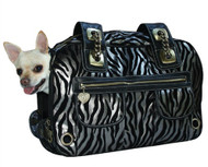 Zebra Carrier *Airline Approved* with Bronze Metallic finish w/3 pockets, 12 Air vents, Mat & Blanket  by Pet Flys