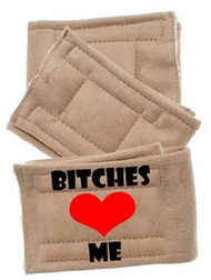Peter Pads  Dog Belly Band - Bitches Love Me  3 Pack Beige