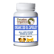 Petabis Organics CBD HEMP OIL CAPSULES 300 MG. ACTIVE CBD 30 PIECES 10 MG PER CAP* ORGANIC ACTIVE CBD OIL CAPSULES FOR DOGS & CATS*