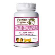 Petabis Organics CBD HEMP OIL CAPSULES 600 mg BULK PACK* 600 mg ACTIVE CBD OIL, 60 PIECES 10 MG PER CAP* ORGANIC CBD CAPSULES FOR DOGS CAT & HORSES*