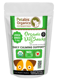 Petabis Organics CBD DAILY CALMING SUPPORT SNACKS-LARGE BREED SNACKS 5 mg. 30 Pieces*- PB & PASSION FLOWER* 3.65 Oz Bag