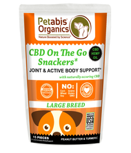 Petabis Organics CBD ON THE GO SNACKERS* JOINT & ACTIVE BODY LARGE BREED 5 mg 15 Pieces* PB & TURMERIC TREATS* 1.98 Oz Bag