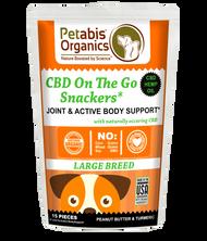 Petabis Organics CBD ON THE GO SNACKERS* JOINT & ACTIVE BODY LARGE BREED 5 mg 15 Pieces* PB & TURMERIC TREATS* 1.98 Oz Bag