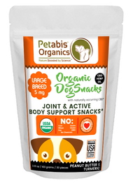 Petabis Organics CBD JOINT & ACTIVE BODY SUPPORT LARGE BREED SNACKS 5 mg. 30 Pieces* PB & TURMERIC 3.65 Oz.