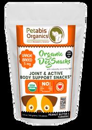 Petabis Organics CBD JOINT & ACTIVE BODY SUPPORT LARGE BREED SNACKS 5 mg. 30 Pieces* PB & TURMERIC 3.65 Oz.