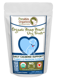 Petabis Organics HEMP HEART DAILY CALMING SUPPORT DOG TREATS 60 PIECES* TURKEY & PASSION FLOWER & CAROB 8 oz 60 Pieces