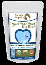 Petabis Organics HEMP HEART DAILY CALMING SUPPORT DOG TREATS 60 PIECES* TURKEY & PASSION FLOWER & CAROB 8 oz 60 Pieces