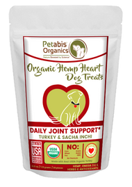 Petabis Organics Hemp Hearts  Daily Joint & Active Body Support Treats 60 Pieces* 8.75 Oz Turkey, Sacha, Inchl, & Chia