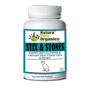 Natura Petz  STIX & STONES Kidney + Stone & Urinary Tract Infection Support  for CATS * All Life Stages 300Mg  90 Caps
