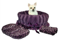Purple Cheetah Reversible Snuggle Bugs Pet Bed, Carrier bag, and Car Seat in One