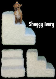 Shaggy Ivory Plush Pet Steps by Pet Flys