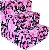 Pink Camo Plush Pet Steps by Pet Flys