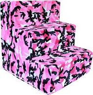 Pink Camo Plush Pet Steps by Pet Flys