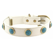 Pebble Faceted TURQUOISE Dog Collar