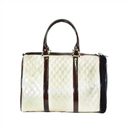 Ivory Quilted Luxe JL Duffel with Brown Shiny Trim