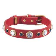 Diamond Faceted Rhinestones & SODALITE Red Dog Collar & Leash