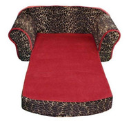 Leopard Print with Sangria Interior Pull Out Pet Sleeper Sofa Bed