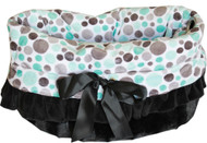 Aqua Party Dots Reversible Snuggle Bugs Pet Bed, Carrier Bag, and Car Seat All-in-One