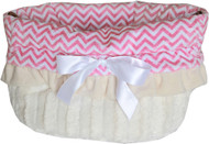 Pink Chevron Reversible Snuggle Bugs Pet Bed, Carrier Bag, and Car Seat All-in-One