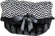 Black Chevron Reversible Snuggle Bugs Pet Bed, Carrier Bag, and Car Seat All-in-One