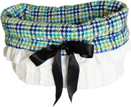 Aqua Plaid Reversible Snuggle Bugs Pet Bed, Carrier Bag, and Car Seat All-in-One