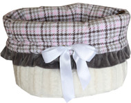 Pink Plaid Reversible Snuggle Bugs Pet Bed, Carrier Bag, and Car Seat All-in-One