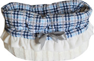 Blue Plaid Reversible Snuggle Bugs Pet Bed, Carrier Bag, and Car Seat All-in-One