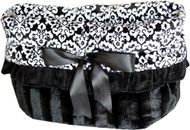 Fancy Black Reversible Snuggle Bugs Pet Bed, Carrier Bag, and Car Seat All-in-One