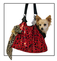 Red with Animal Foil Run Around Pet Carrier Tote