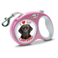 "iLEESH ""I LOVE MY Black Labrador"" Retractable Leash Pink"