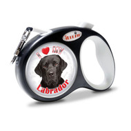 "iLEESH ""I LOVE MY Black Labrador"" Retractable Leash Black"