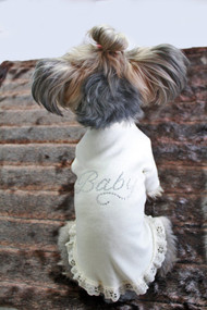 Hello Doggie Baby Dress with Lace
