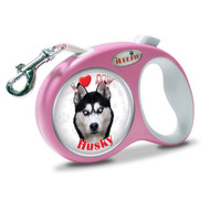 "iLEESH ""I LOVE MY Husky"" Retractable Leash Pink"