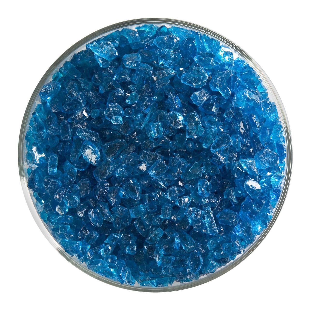 "1116.31-5/""x 5/"" IRIDIZED TRANSPARENT TURQUOISE BLUE BULLSEYE 3mm GLASS 90 COE"