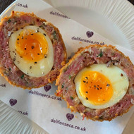 Ham hock scotch eggs