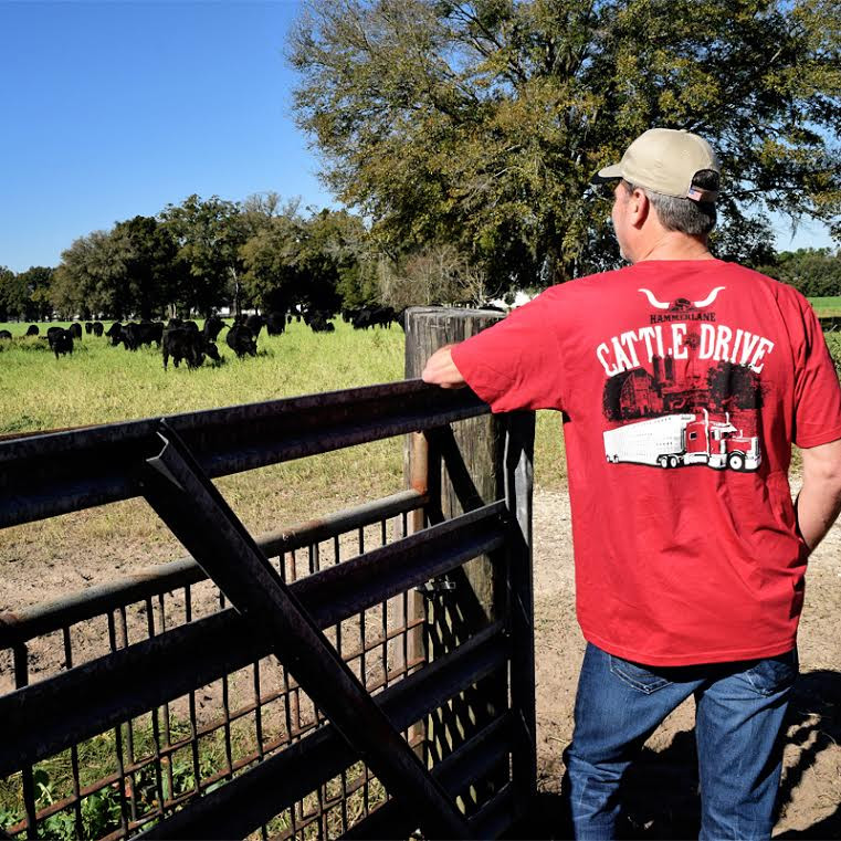 Cattle Drive Hammer Lane Trucker T-Shirt On