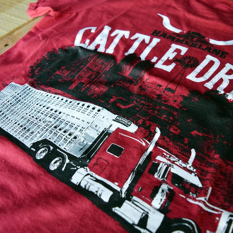 Cattle Drive Hammer Lane Trucker T-Shirt Truck Close Up