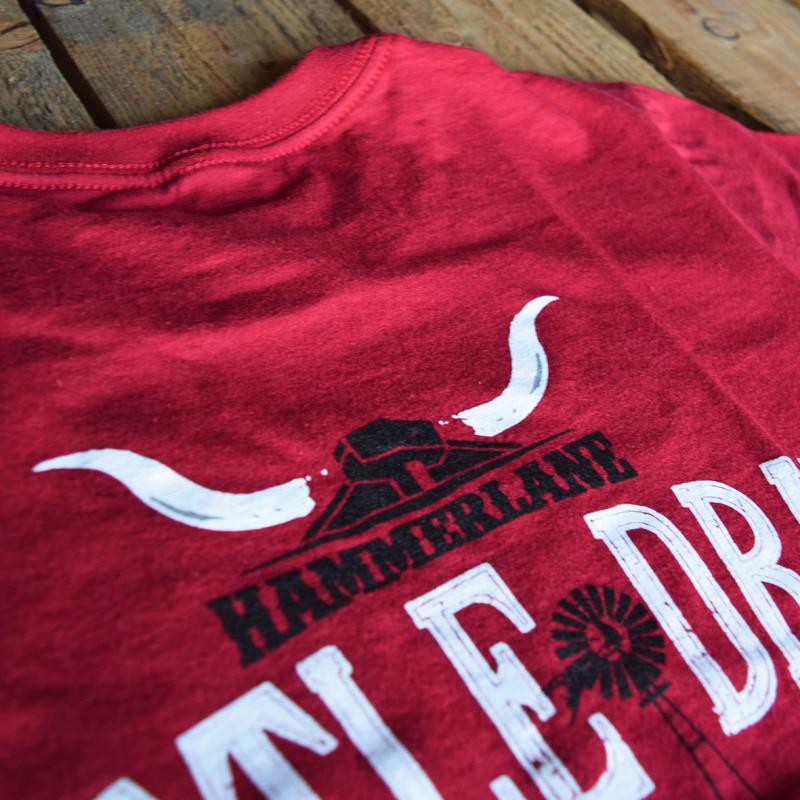 Cattle Drive Hammer Lane Trucker T-Shirt Back Close Up