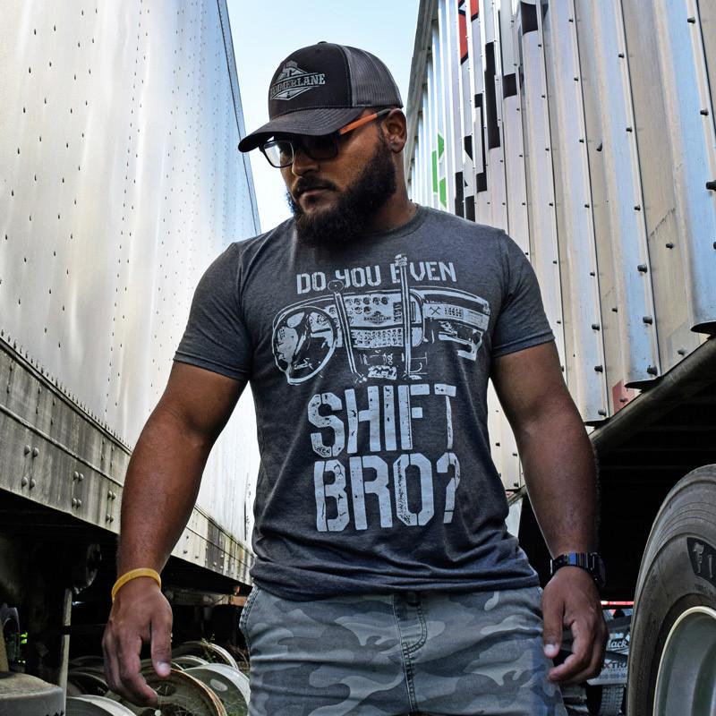 Do You Even Shift Hammer Lane Trucker Shirt On Model
