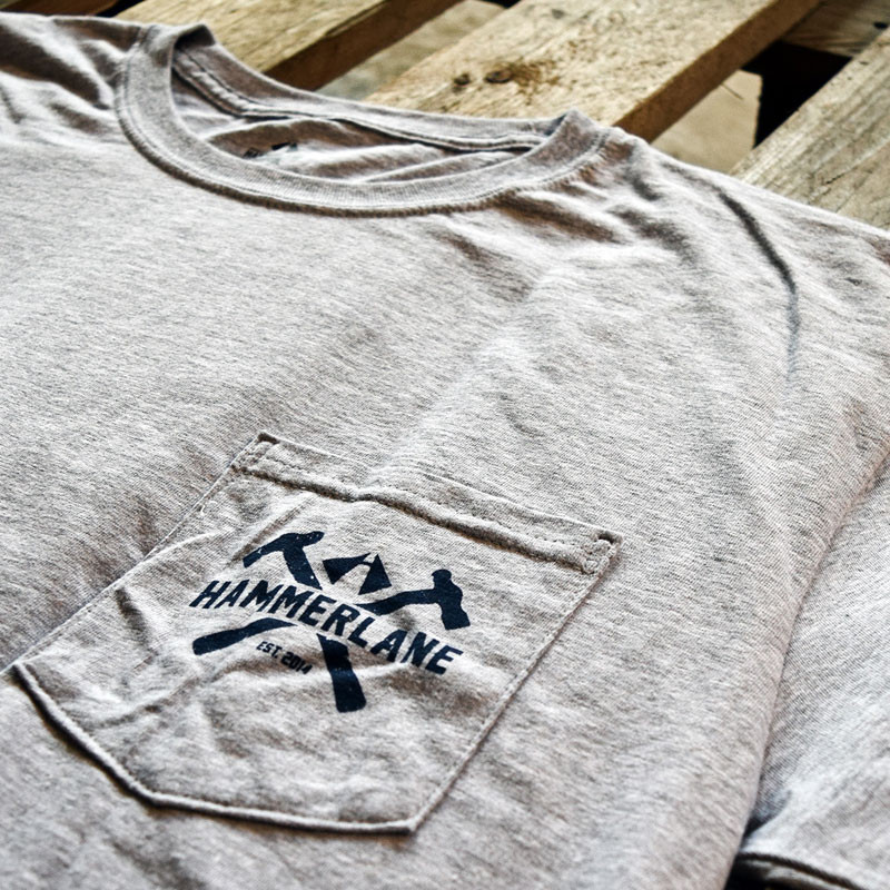 Stay Classy Hammer Lane Trucker Pocket Tee Shirt Close Up