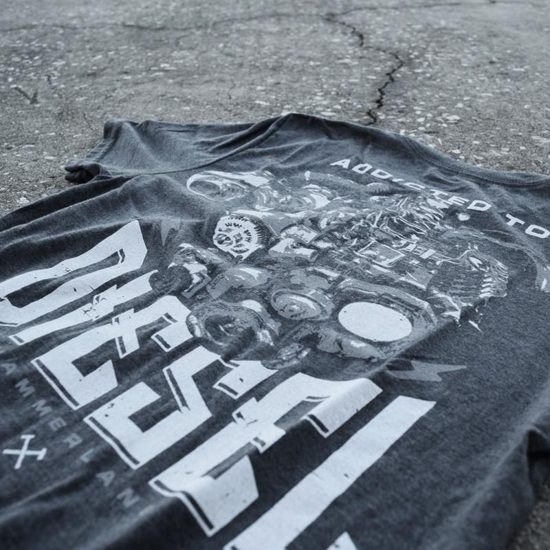 Diesel Addicted Hammer Lane Trucker Shirt Design Close Up