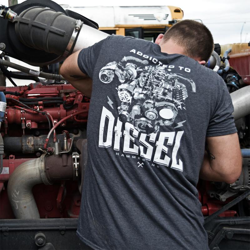 Diesel Addicted Hammer Lane Trucker Shirt On Model 1