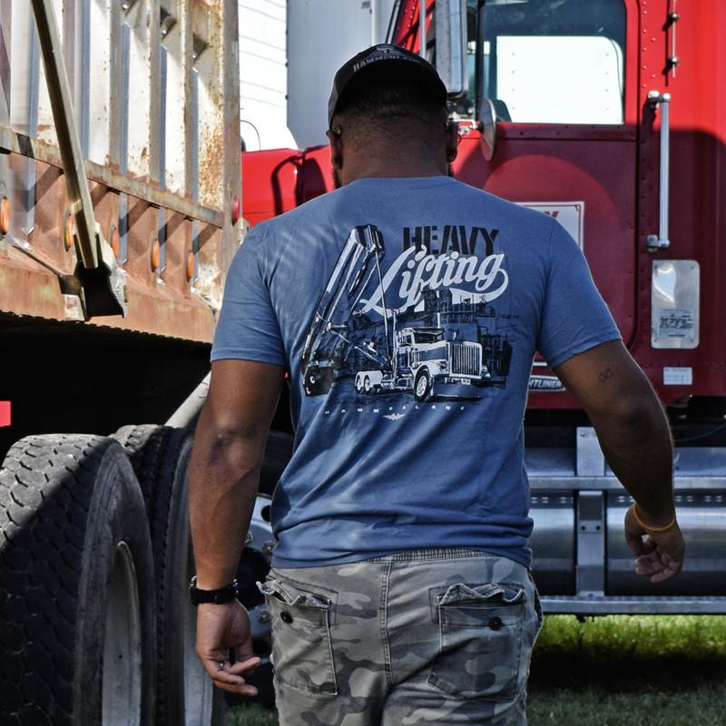 Heavy Lifting Hammer Lane Trucker Shirt On Model