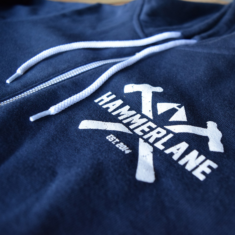Vintage Hammer Lane Zip Up Hoodie Close Up