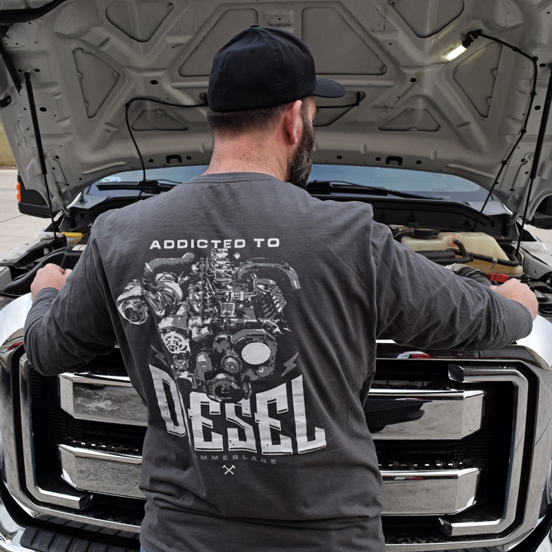 Addicted To Diesel Hammer Lane Long Sleeve T-Shirt On Model