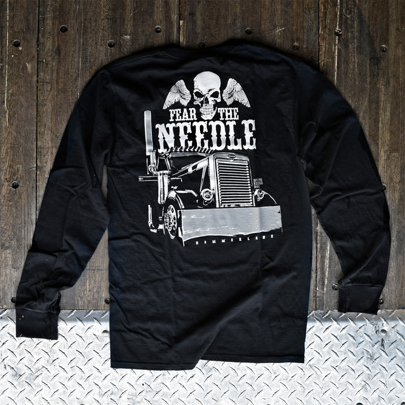 Fear The Needle Hammer Lane Long Sleeve T-Shirt On Display