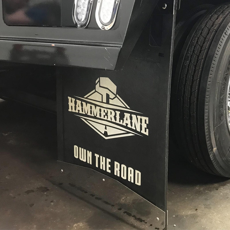 Hammer Lane Logo Mudflap On Truck Side