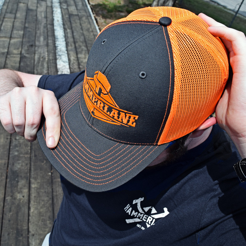 Snapback Neon Orange Hammerlane Trucker Hat On Model